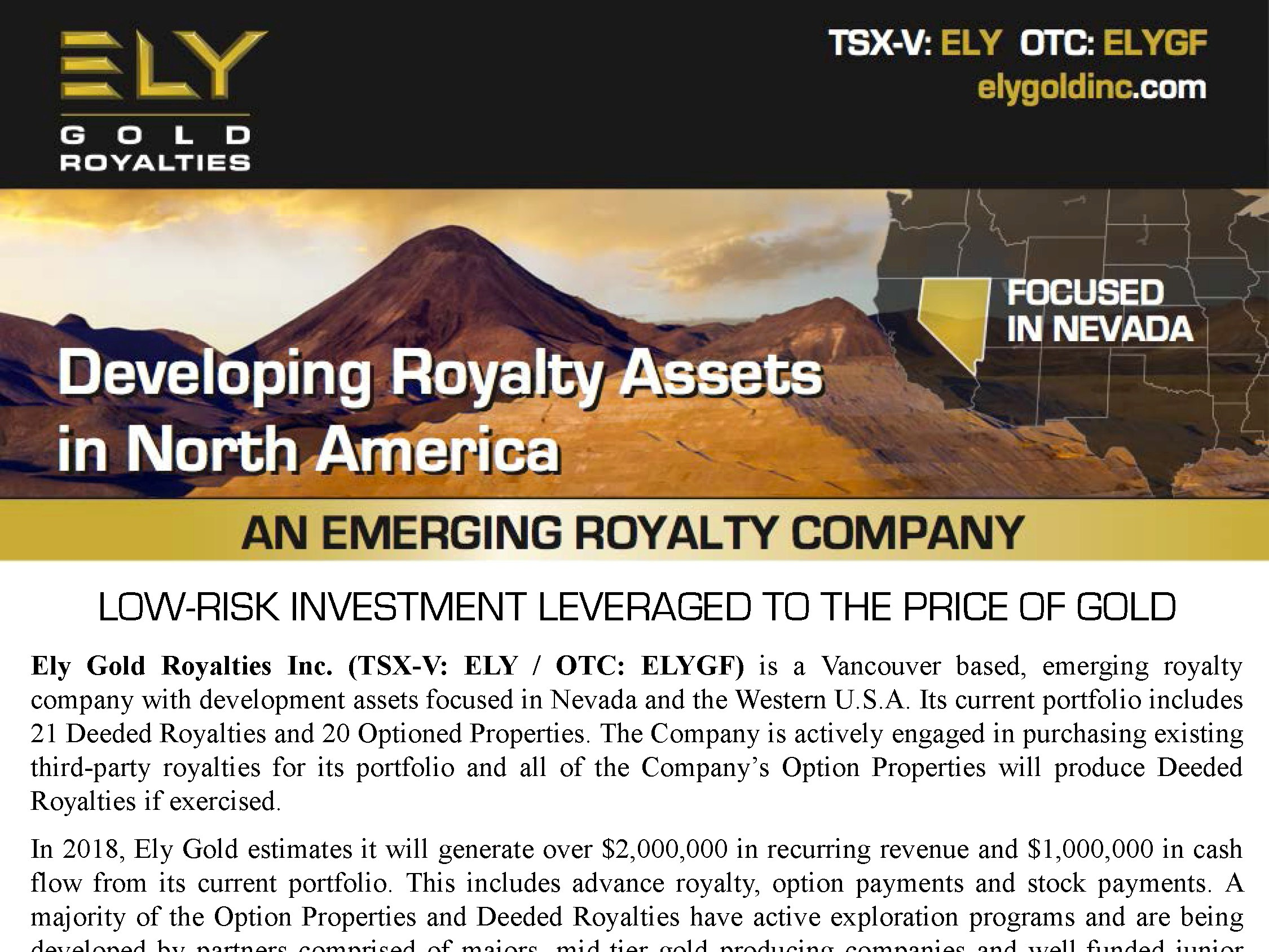 Ely Gold Fact Sheet