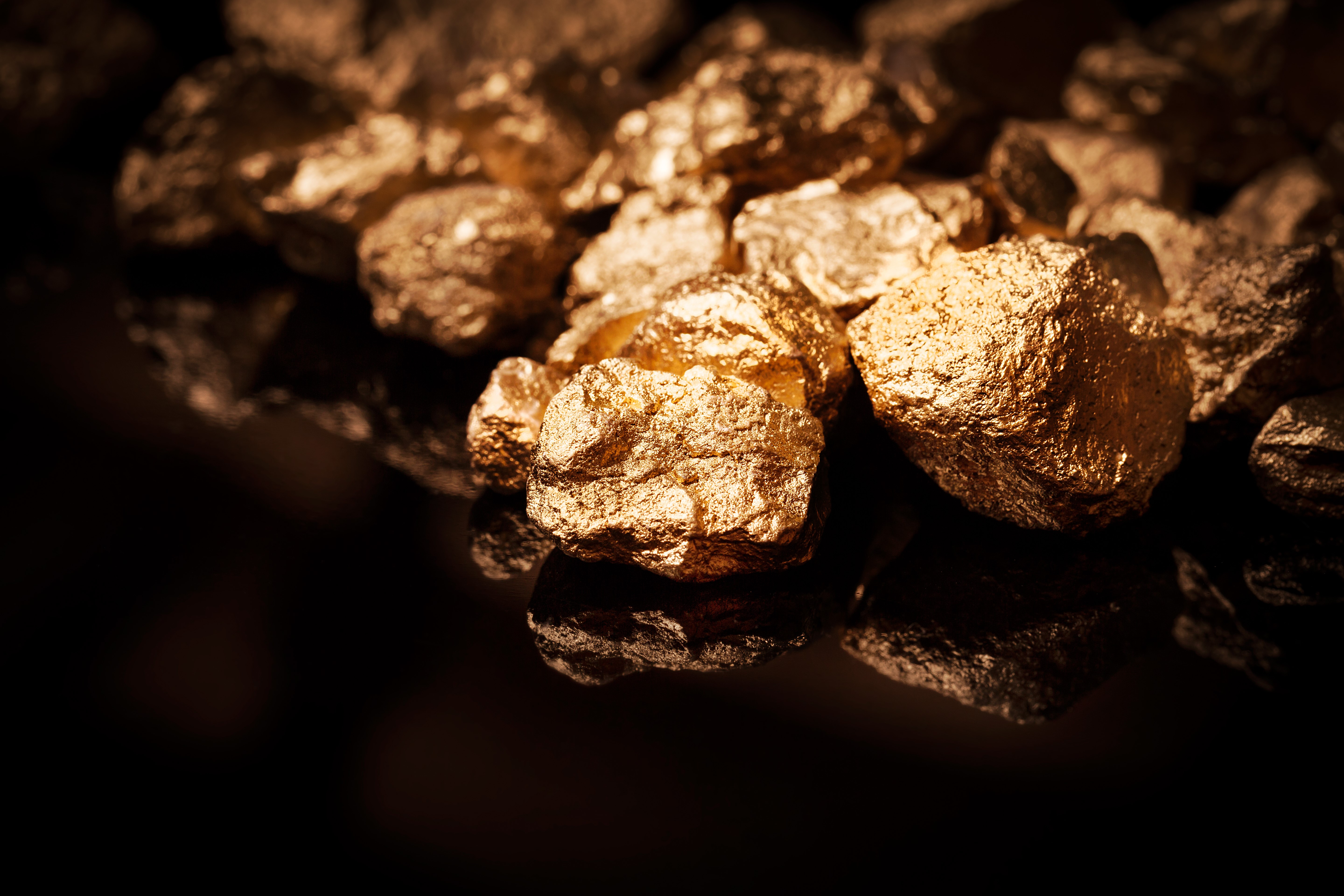 Gold Nuggets Extracted from Gold Ore